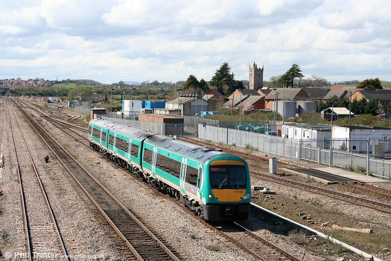 A livery whose days are numbered: XC 170110 passes Severn Tunnel Junction forming the 1345 Cardiff Central to Nottingham on 7th April 2009.