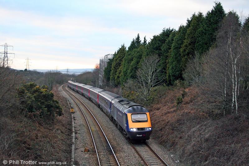 The 1555 Carmarthen to London Paddington climbs Cockett Bank in fading light behind 43010 on 1st February 2009.