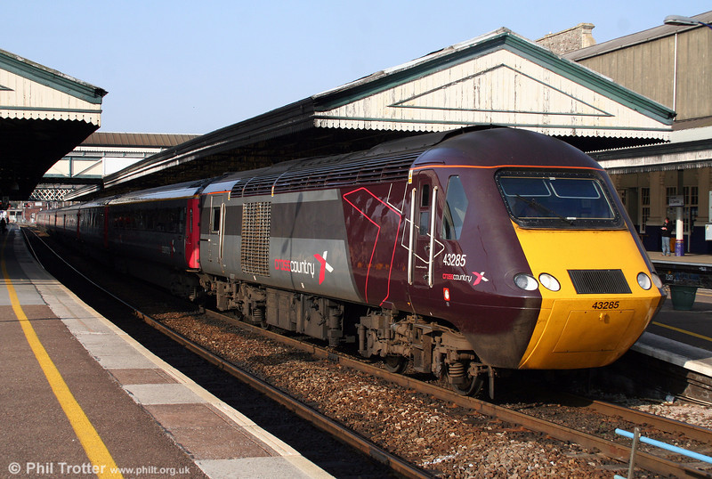 During a spell when XC workings produced more HSTs than Voyagers, 43285 leaves Exeter St. Davids at the head of the 0700 Glasgow Central to Plymouth on 21st March 2009.