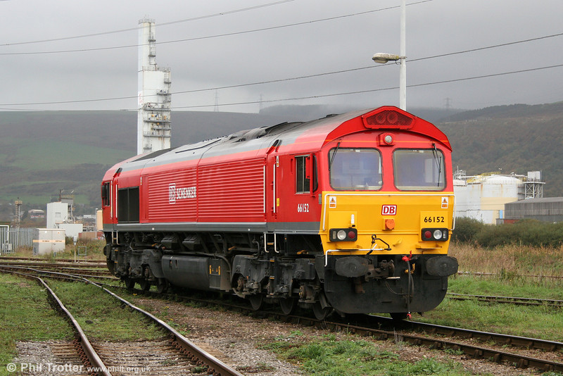 66152 shows off its bright colour scheme at Margam, Knuckle Yard on 31st October 2009.