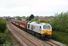 67029 'Royal Diamond' heads through Pyle with MCRUA's 1Z45, 0640 Hooton to Cardiff Central, 'The Heart of Wales Express' on 25th April 2009.