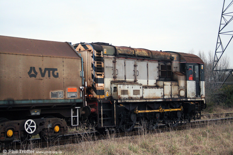 08646 at Margam Knuckle Yard shunting the wagons for 6H25, 0952 Margam to Llanwern on 31st January 2009.