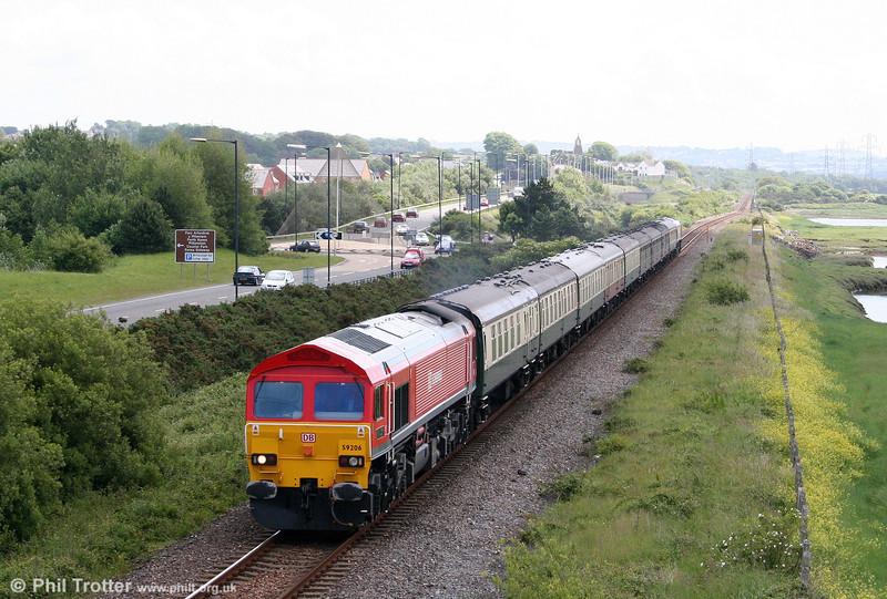 59206 'John F Yeoman - Rail Pioneer' heads UK Railtours 1Z58, 0708 London Paddington to Carmarthen, 'The Thames-Towy' through Loughor on 13th June 2009.