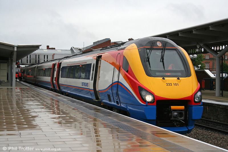 Transferred to EMT from Hull Trains, 'Pioneer' (and now presumably reclassified as a 'Meridian') 222101 waits at a soggy Derby having arrived forming the 0725 from London St. Pancras on 5th August 2009.