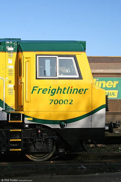 Cabside of 70002 showing the revised Freightliner logo. 15th November 2009.