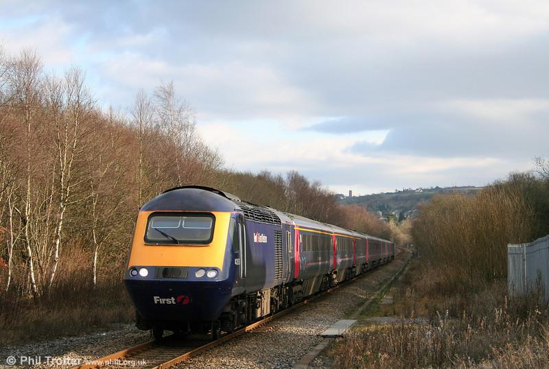 43063 heads the 1037 London Paddington to Carmarthen through Gowerton on 1st February 2009.