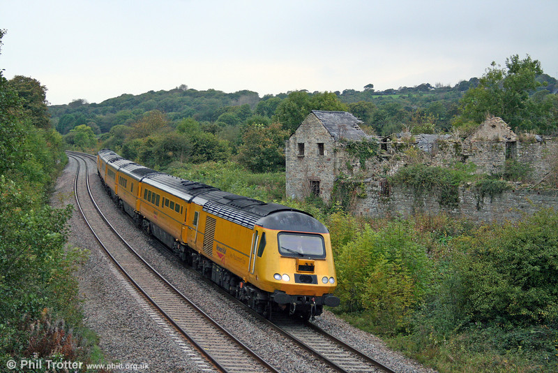43013 heads 1Z20, 1009 Swansea to Derby RTC NMT past Llangewydd on 9th October 2009.