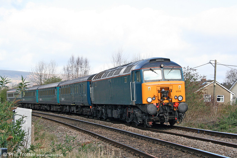 57313 approaches Ponthir Crossing with 1V31, 0532 Holyhead to Cardiff Central on 8th April 2009. Pass the shears, someone...