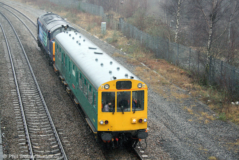 DRS 37423 propels Network Rail Inspection Saloon 975025 'Caroline' past Landore, running as 2Z27, 0720 London Paddington to Swansea on 27th January 2009.
