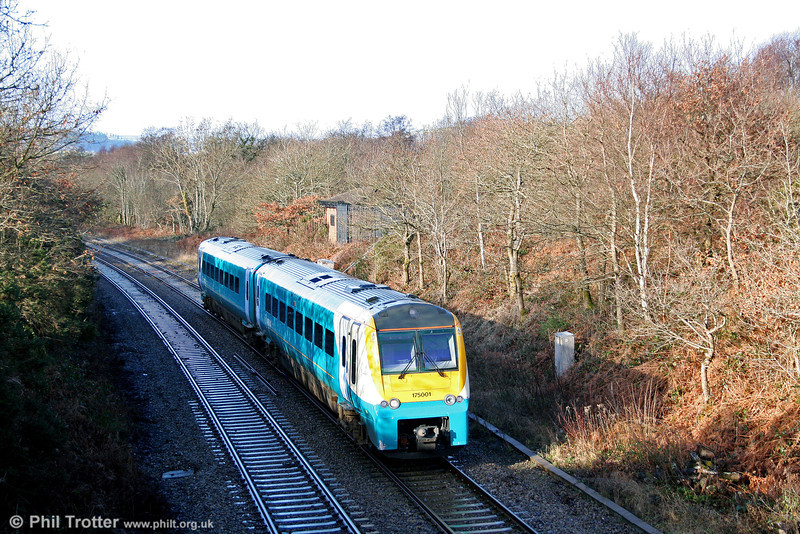 175001 is seen at Allt-y-Graban forming the diverted 1235 Carmarthen to Manchester Piccadilly on 18th January 2009.