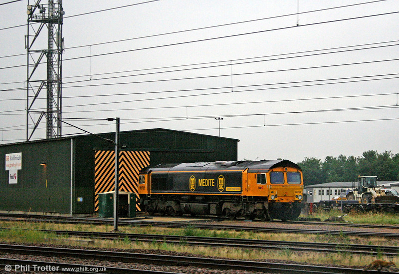 GBRf's Medite liveried 66709 'Joseph Arnold Davies' stabled at Peterborough on 4th August 2009.