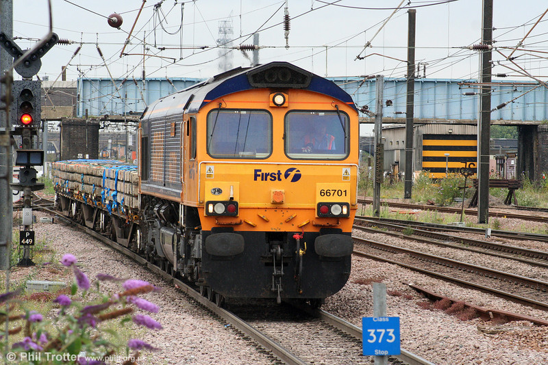 GBRf 66701 'Whitemoor' approaches Peterborough with 6L57, 1546 Tallington to Whitemoor on 4th August 2009.