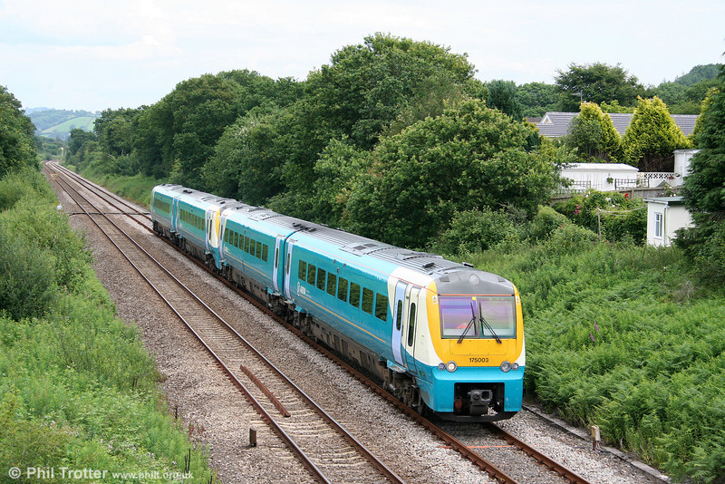 175003 and 175005 pass Llanllwch forming the 1011 Hereford to Fishguard Harbour on 28th June 2009.