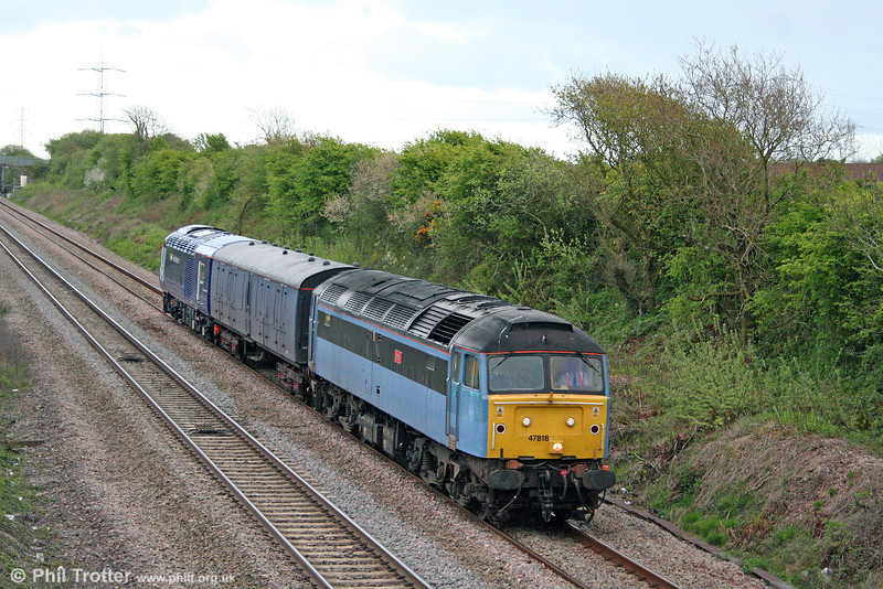 Another job for Emily: Cotswold/Advenza 47818 at Stormy Down with 5Z47, 1225 Brush, Loughborough to Landore TMD on 25th April 2009. The move was to transfer refurbished former NXEC power car 43056 to Landore for service with FGW.