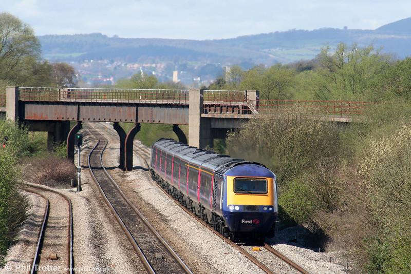 The 1129 Swansea to London Paddington has just passed beneath Bishton Flyover on 7th April 2009.