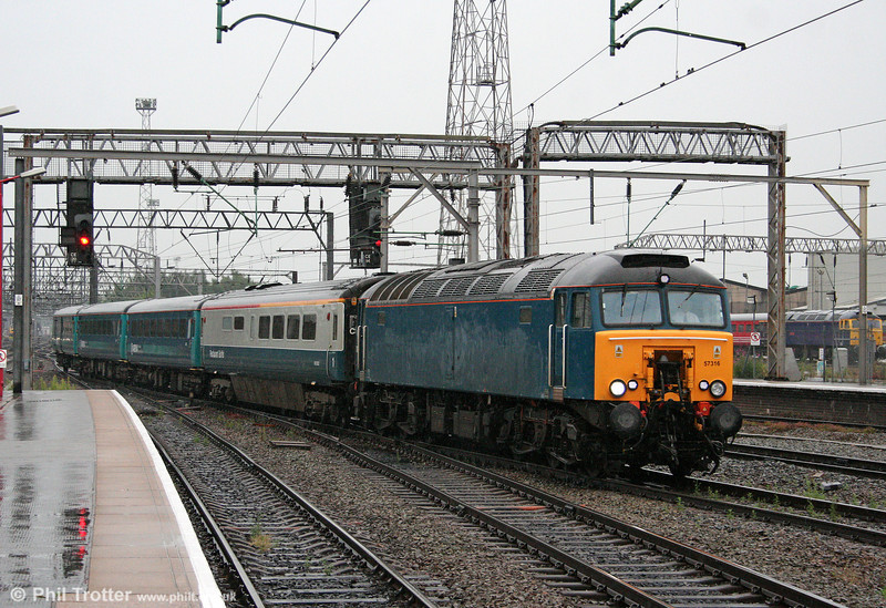 57316 arrives at Crewe with 1W91, 1617 Cardiff Central to Holyhead on 16th July 2009.