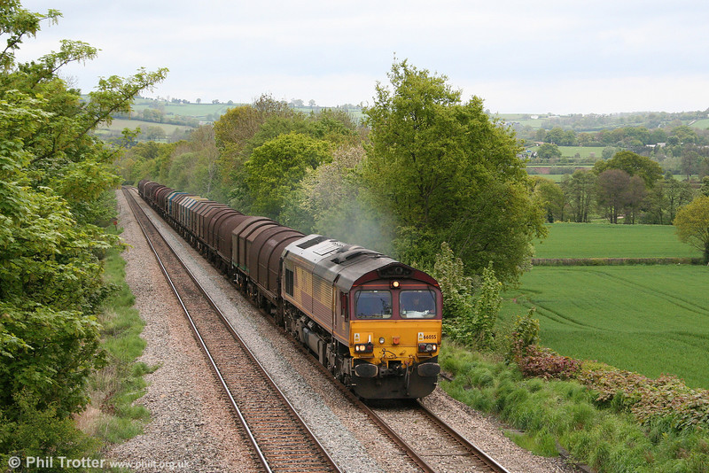 Lickey Banker 66055 passes Llanover with 6V75, 0930 Dee Marsh to Margam on 4th May 2009.