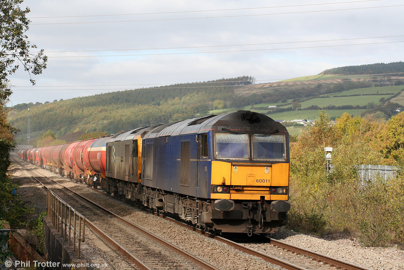 60011 and 60054 'Charles Babbage' are seen at Pontyclun with a very late running 6B13, 0510 Robeston to Westerleigh on 17th October 2009.