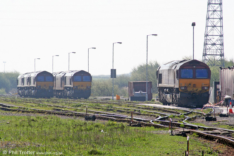 The revised stabling arrangement at Margam Knuckle Yard, since the closure of Margam Depot. Seen through the haze nearest the camera is Lickey banker 66057. 19th April 2009.