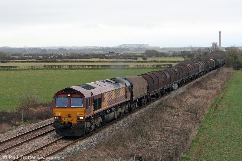 66030 passes St. Athan with 6V75, 0930 Dee Marsh to Margam on 7th March 2009.