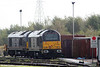 67005 'Queen's Messenger' and 67006 'Royal Sovereign' at Margam Knuckle Yard for fuel on 25th October 2009.