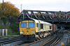 A train which will run in darkness during the coming weeks is 4M64, 1605 Wentloog to Crewe Basford Hall, seen at Newport behind 66575 on 30th October 2010.
