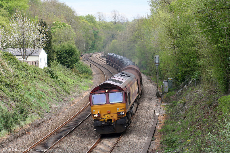 66138 at Miskin with 6H26, 1334 Llanwern to Margam on 1st May 2010.