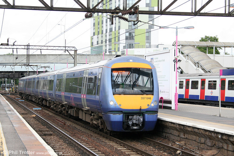 357046 calls at Barking with the 1210 Fenchurch Street to Shoeburyness on 31st July 2010.