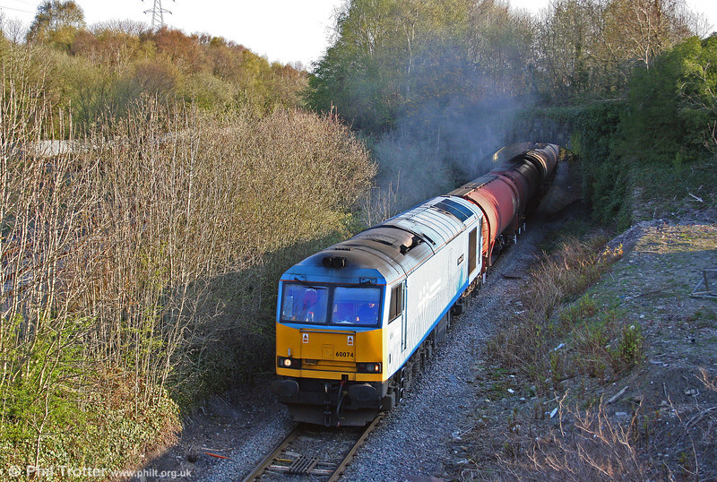 60074 'Teenage Spirit' at Briton Ferry up flying loop with 6B13, 0505 Robeston to Westerleigh on 22nd April 2010.