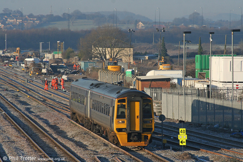 ATW's 158819 takes the Gloucester line at STJ, forming the 0800 Maesteg to Cheltenham Spa on 4th January 2010.