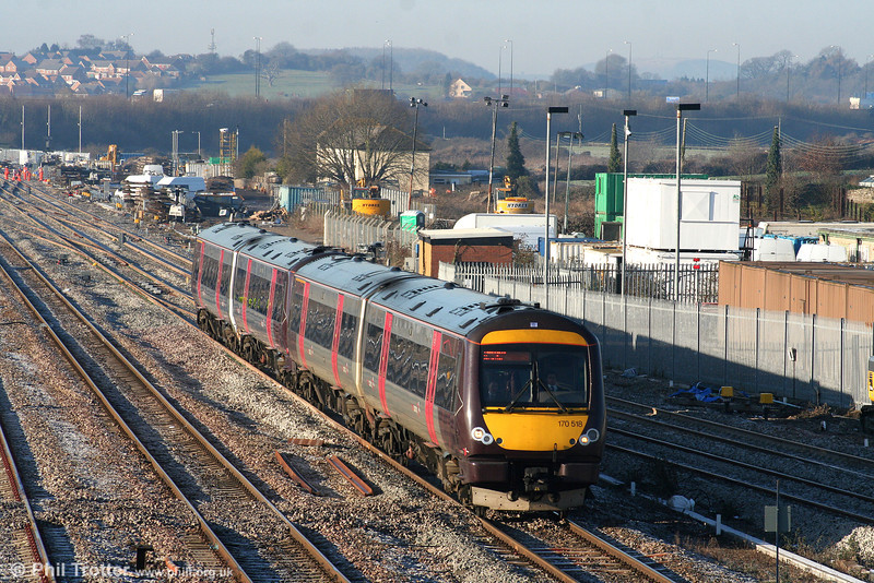 XC 170518 and 170521 at Severn Tunnel Junction forming the 1045 Cardiff Central to Nottingham on 4th January 2010. This working is regularly worked by two sets, having earlier formed a peak commuter journey between Nottingham and Birmingham.
