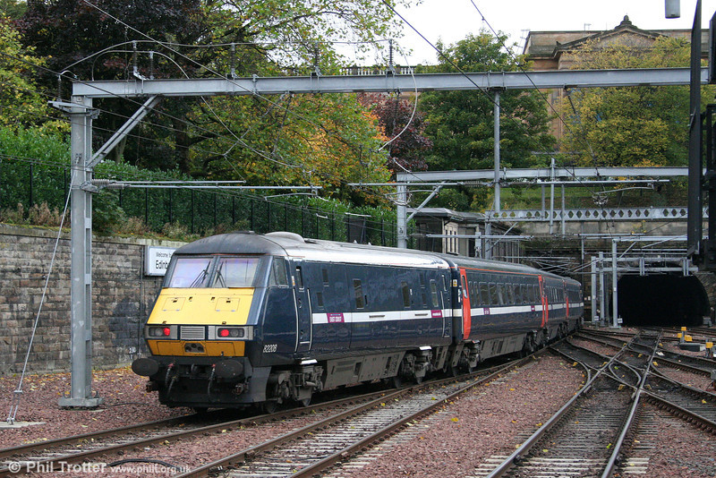 DVT 82208 brings up the rear of 1S13, the 1100 London Kings Cross to Glasgow Central as it departs Edinburgh Waverley on 18th October 2010.
