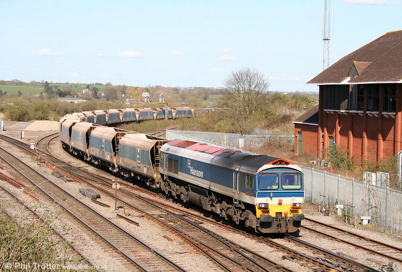59104 'Village of Great Elm' arrives at Westbury with 7C77, 1240 Acton Yard to Merehead on 8th April 2010.