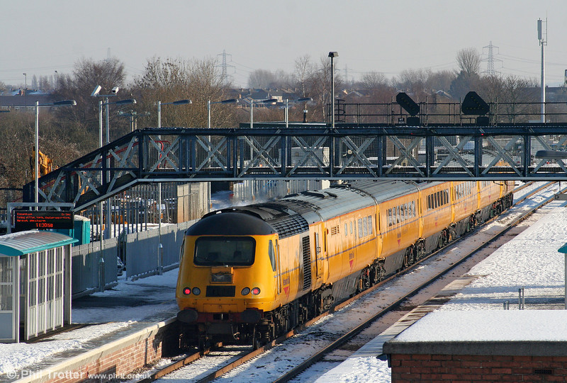 43014 at Severn Tunnel Junction bringing up the rear of 1Z20, 1009 Swansea to Derby RTC NMT on 8th January 2010.