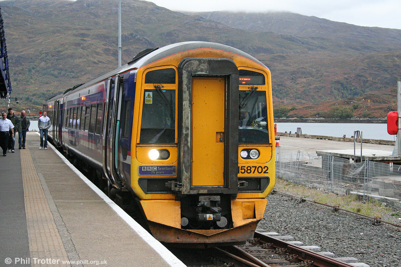 158702 'BBC Scotland - 75 Years' at Kyle of Lochalsh, ready to form the 1715 service to Inverness and Elgin on 13th October 2010.