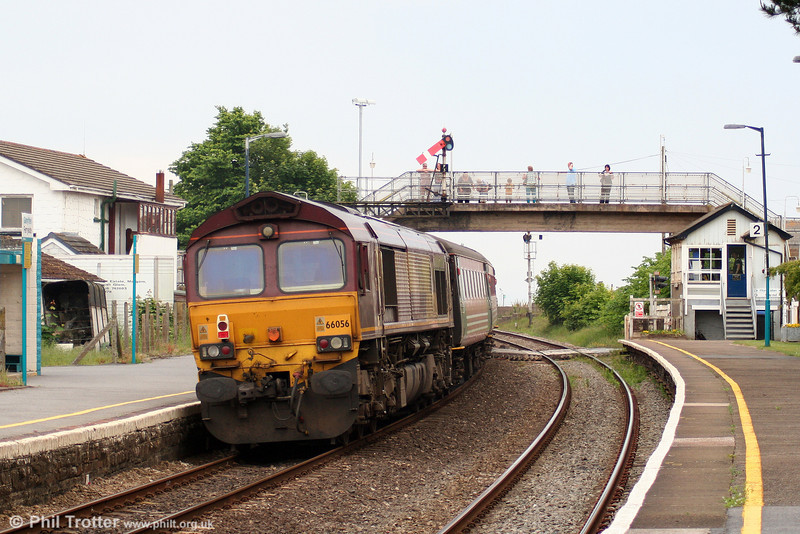 66056 is seen at Ferryside, bringing up the rear of 1Z60, 1556 Carmarthen to Holyhead, the return 'Heart of Wales Scenic Rambler' on 5th June 2010.