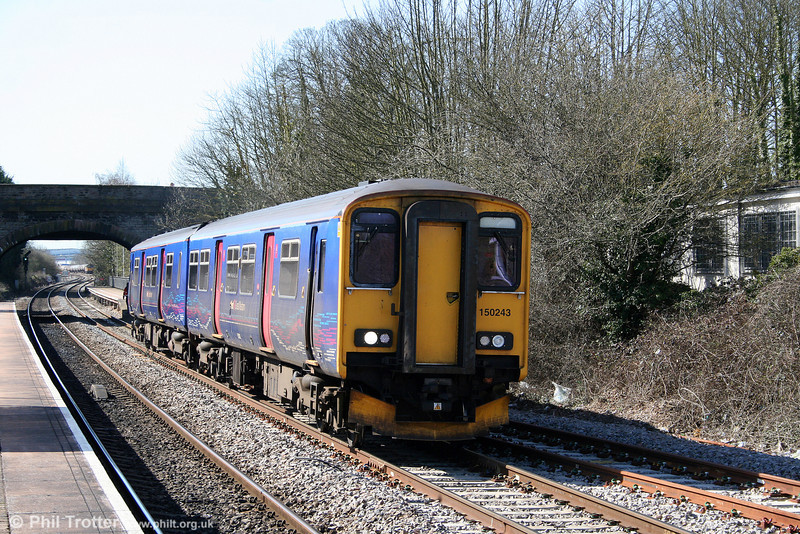 150243 pulls away from Yate forming the 0823 Southampton Central to Great Malvern on 8th April 2010.