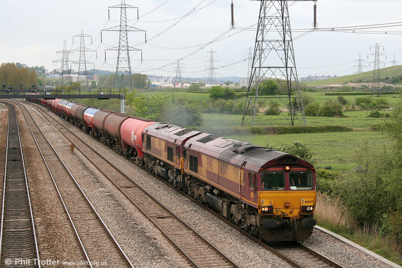 66047 and 66087 at Duffryn with 6B33, 1212 Theale to Margam on 1st May 2010.