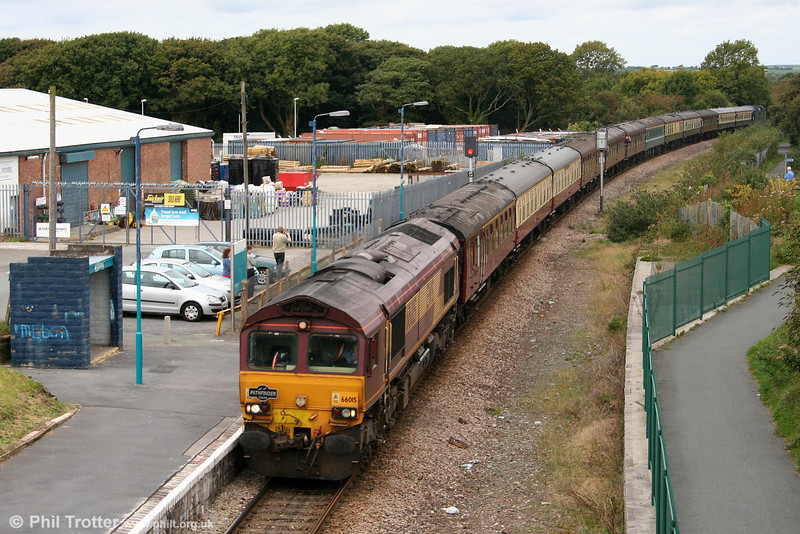 66015 threads its way through Johnston with 1Z50, 0650 Crewe to Robeston, 'The Western Wales Explorer' on 18th September 2010.