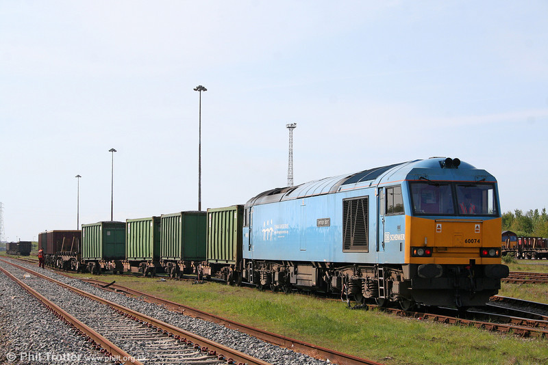 The weekend's 'guest' shunter at Margam Knuckle Yard was none other than 60074 'Teenage Spirit', seen with FCA coal containers on 15th May 2010.
