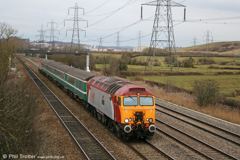 57309 'Brains' passes Duffryn at the head of 5U89, 1402 Taunton to Cardiff Canton ECS on 13th February 2010. 57305 'John Tracy' was at the rear.