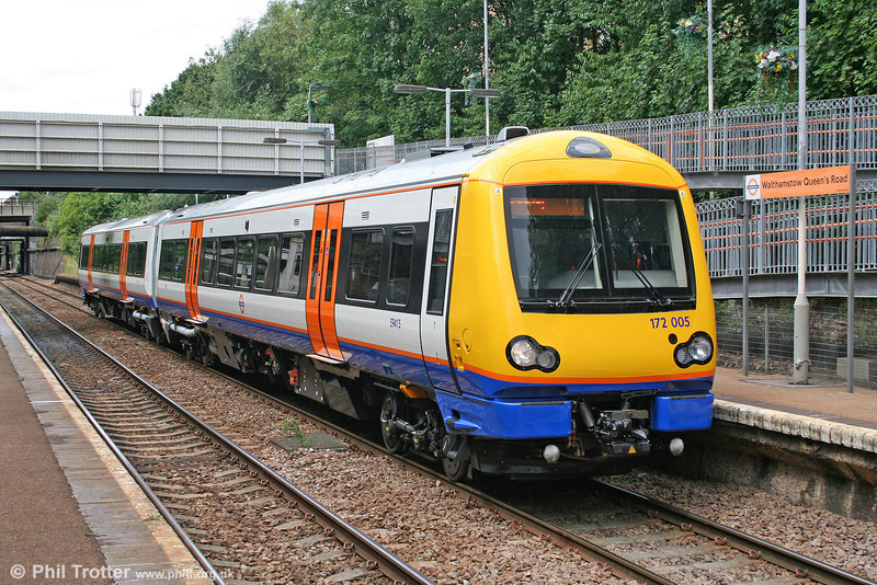 Brand new LOROL 172005 at Walthamstow, Queen's Road forming the 1340 Gospel Oak to Barking on 31st July 2010.