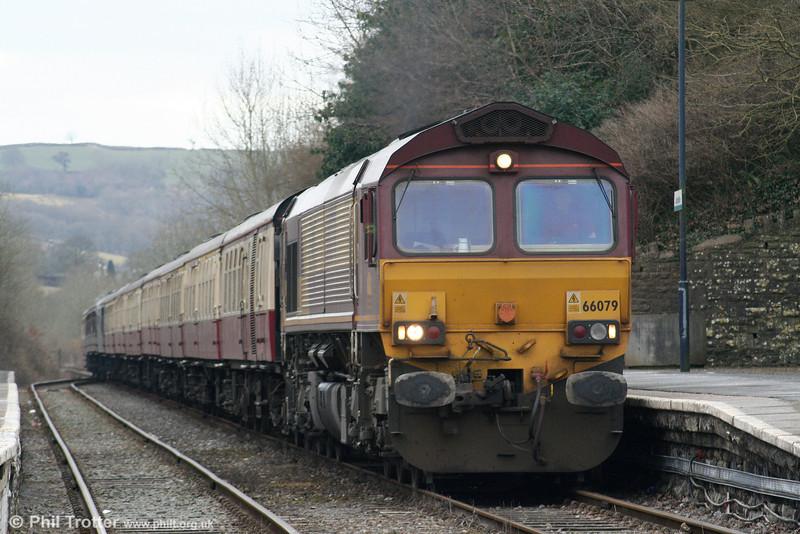 66079 'James Nightall GC' at Llandeilo with UK Railtours 1Z39, 0738 London Paddington to Llandrindod Wells, 'The Heart of Wales' on 13th March 2010.