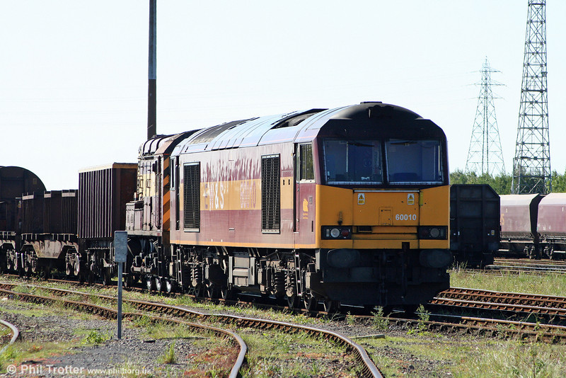 60010 waits at the Knuckle Yard, Margam, ready to take over the week's 6B13/47 workings on 30th August 2010.