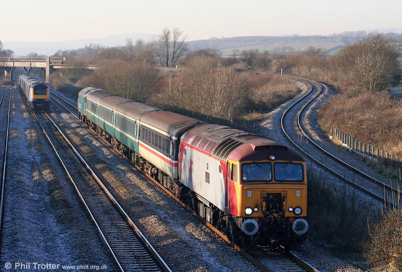 57303 'Alan Tracy' heads 2C79, 1400 Cardiff Central to Taunton through Llandevenny on 4th January 2010. 57315 is at the rear.