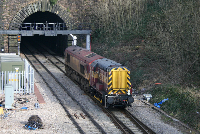 08428 and 66150 leave Newport Tunnel running as 0F00, East Usk Yard to Alexandra Dock Junction on 6th February 2010.