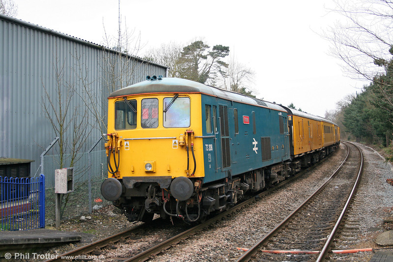 BR blue 73208 'Kirsten' at the rear of 1Q02, 0542 Selhurst T&RSMD to Hither Green at Blackwater on 7th April 2010.