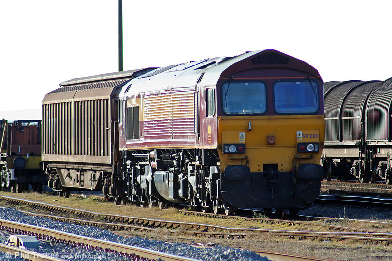 59205 'L Keith McNair' stabled at Margam, Knuckle Yard on 6th March 2010. The loco had been transferred to Margam on 3rd March.