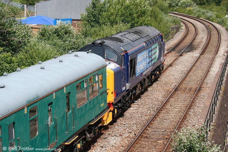 DRS 37409 leads Inspection Saloon 975025 'Caroline' towards Swansea Loop West, running as 2Z38, 1016 Haverfordwest to Shrewsbury on 22nd June 2010.