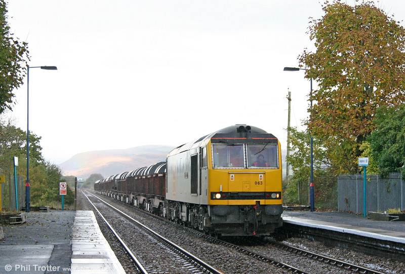 60063 'James Murray' passes Llangennech with 6B41, 1310 Margam to Trostre on 23rd October 2010.
